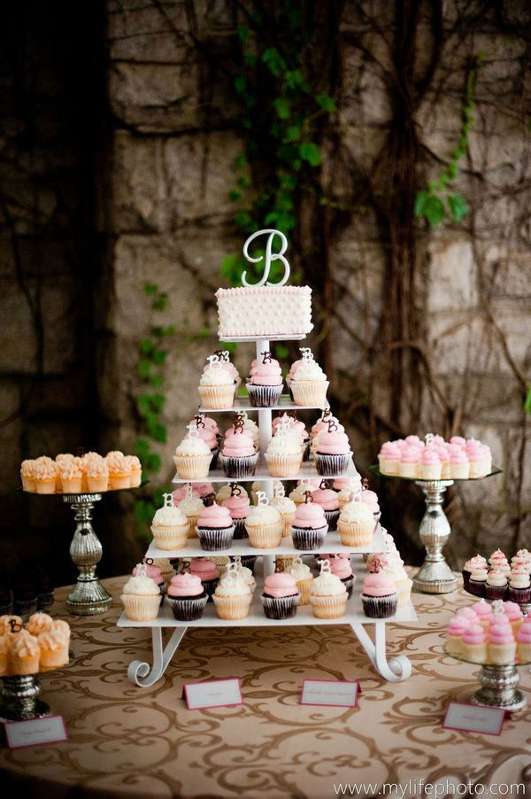 Cupcake wedding cake. I love this set up and the fact that all of your guests can choose their favorite flavor!