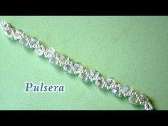 (23) DIY - Pulsera facil con perlas en zig-zag y cristales - Bracelet with zigzag pearls and crystals - YouTube