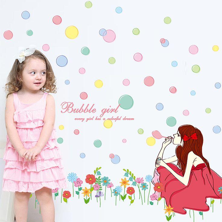 [Shijuehezi] Девушка стены, виниловые наклейки DIY красочные пузыри цветы настенной росписи искусства для детей номеров детский сад гостиная украшениякупить в магазине New HouseнаAliExpress