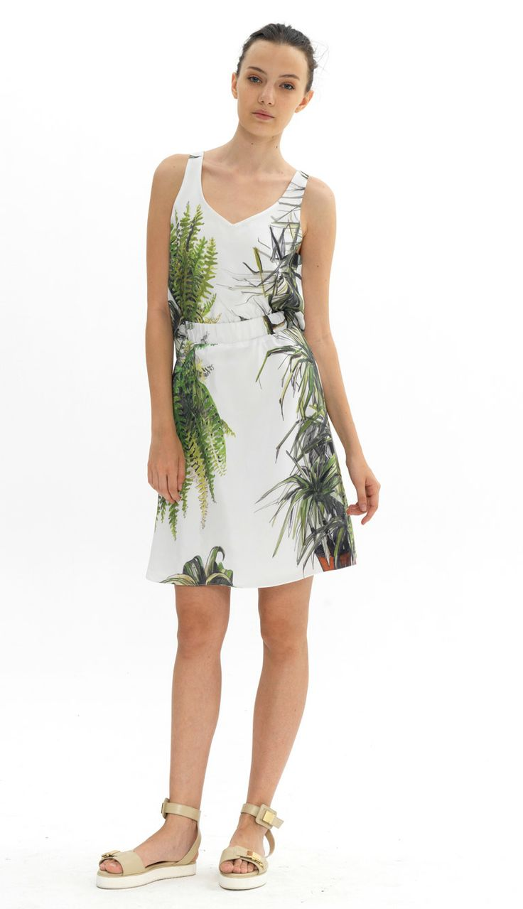 elastic waist silk dress