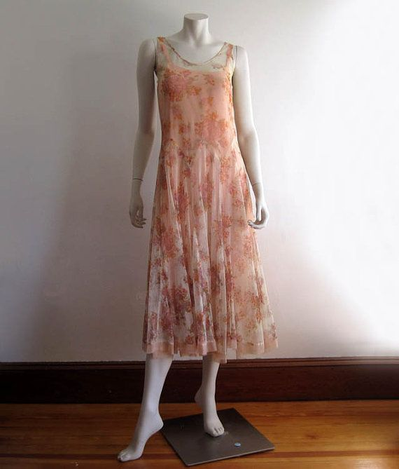 1930s Dress / 30s Dress / Peach Silk / Printed by AntiqueGraces