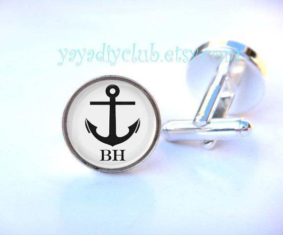 Ancrer la manchette personnalisée Custom de boutons de manchettes initiales - cadeaux de garçons d'honneur, Nautical faveurs de mariage, cad...