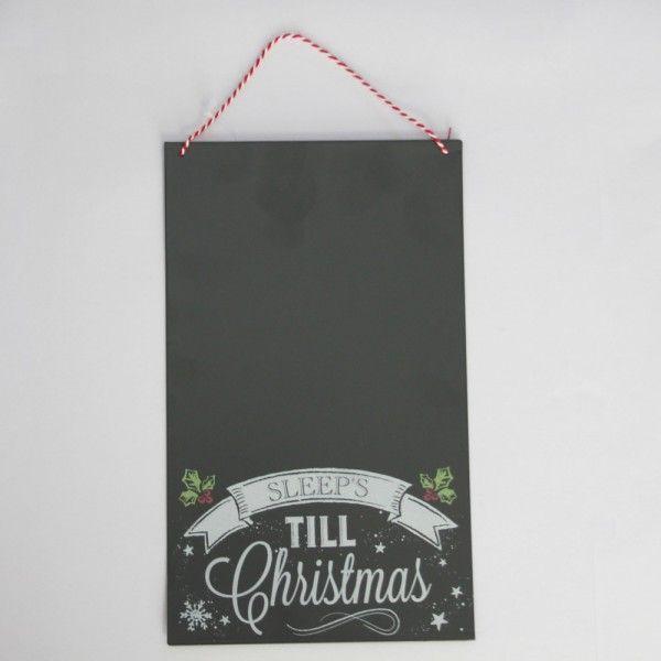 Chalkboard Style Hanging 'Sleeps Till Christmas' Sign Hanging Metal/Tin Secret Santa