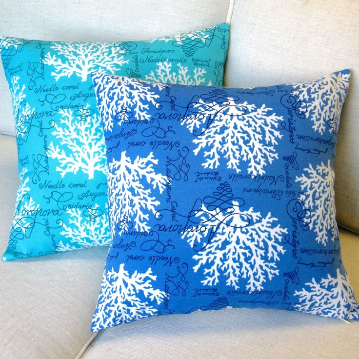 Artisan Pillows 18 Inch Sea Reef In Blue Or Turquoise Throw Pillow Set Of 2 Size X