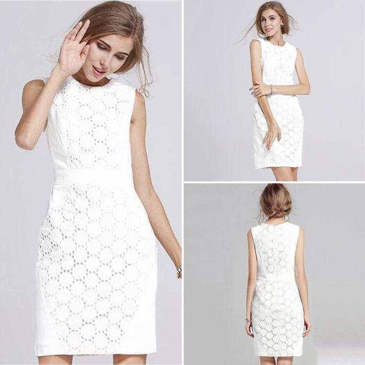 Sleeveless White Lace Mini Dress - FashionandLove.com