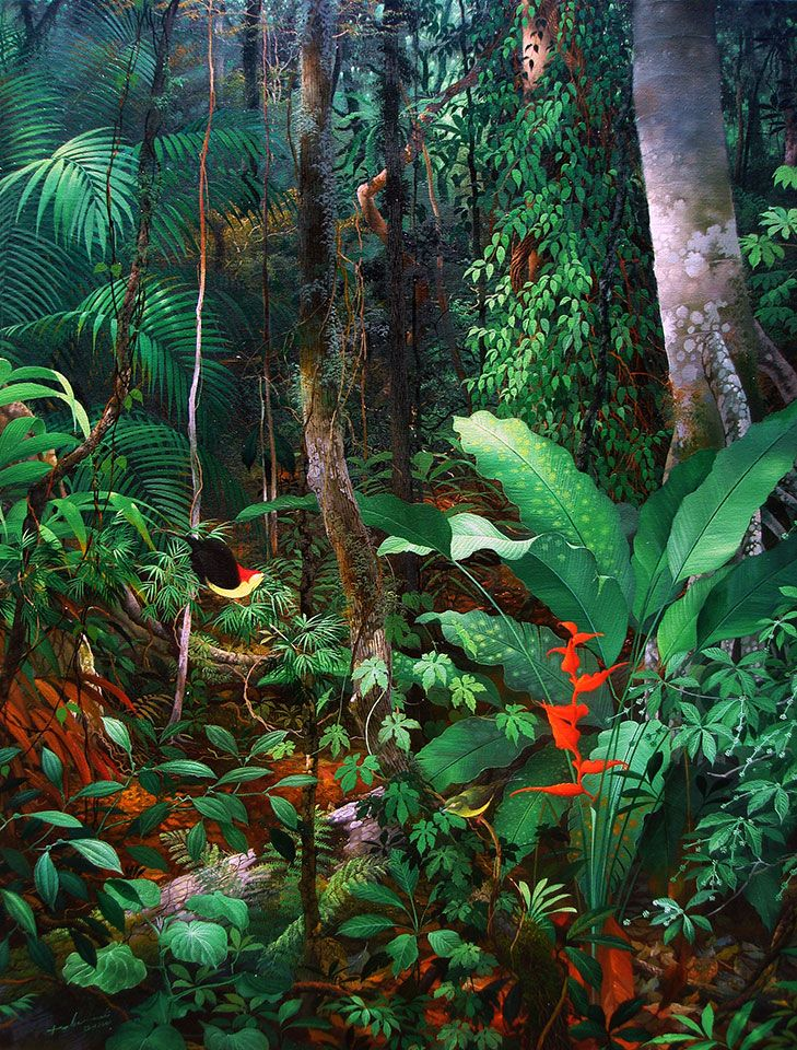 Anderson Debernardi   born in 1968 in the Peruvian Amazon. At the age of 18 he was one of the founding students at the Usko-Ayar Amazonian School of Painting. He was a student of Pablo Amaringo, the internationally known painter of ayahuasca visions & founder of the Usko –Ayar Amazonian School of Painting. Debernardi spent his time with his art & at one point he moved into Pablo Amaringo's home for greater focus on his studies. He portrays the inner landscape