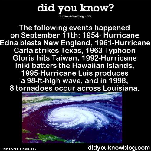 The following events happened on September 11th: 1954- Hurricane Edna blasts New England, 1961-Hurricane Carla strikes Texas, 1963-Typhoon Gloria hits Taiwan, 1992-Hurricane Iniki batters the Hawaiian...                                                                                                                                                                                 More