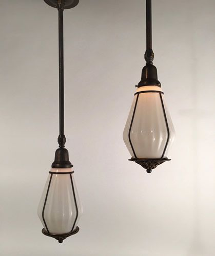 120 best antique lighting flush fixtures pendants images on circa 1920 very interesting fluted pendants with asian influence in the arts and crafts period aloadofball Image collections