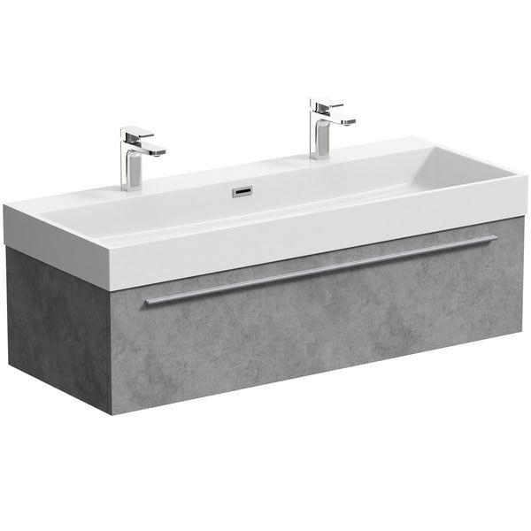 Mode Morris Dark Concrete Grey Wall Hung Vanity Unit And Basin 1200mm Wall Hung Vanity Wall Mounted Vanity Vanity Units