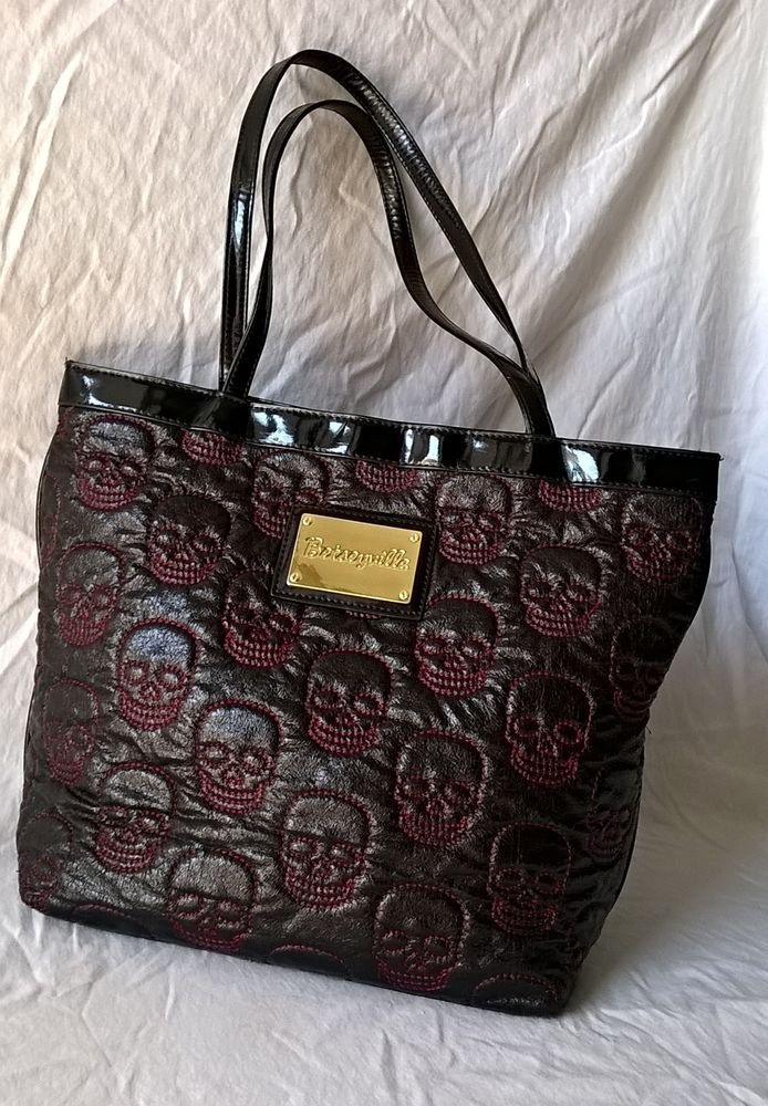 Rare Betseyville Black Pink Quilted Skull Lrg Tote Bag