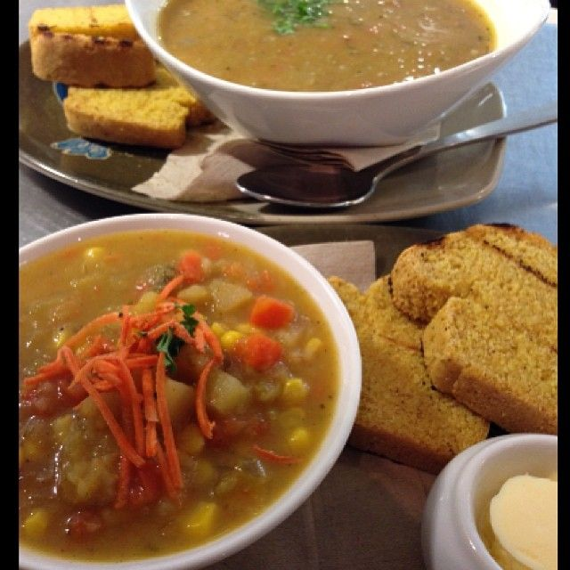 Our soups change daily! Try it with our delicious cornbread and your choice of vegan butter or hummus!