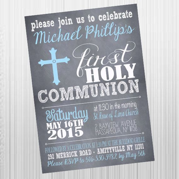 Printable First Holy Communion Invitations, Printable Invitations, Communion for Boys or Girls