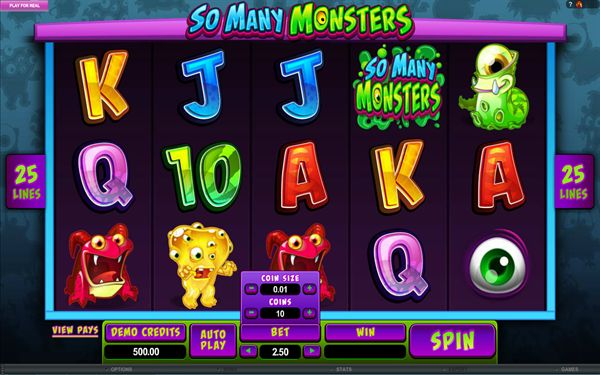 Microgaming's new release, the So Many Monsters slot is a 5-reel, 25 payline video slot that boasts a bonus round where players can choose a free spins bonus.