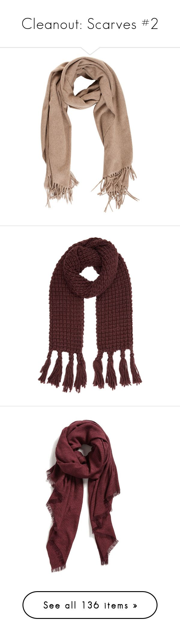 """Cleanout: Scarves #2"" by mscody ❤ liked on Polyvore featuring accessories, scarves, fringe shawl, woolen scarves, shawl scarves, fringe scarves, wrap scarves, tassel scarves, thick knit scarves and accessorize scarves"