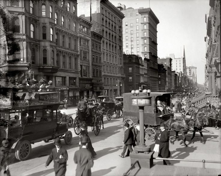 Corner of 5th and 42nd Street, NYC, 1910. Even in a still picture, you can see how quickly everything moved in New York City, even in 1910!
