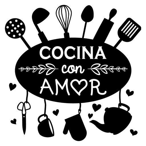 Vinilo barato decorativo para cocinas, cocina con amor con utensilios colgando. Vinilo adhesivo para decorar restaurantes o como regalo a cocinero.