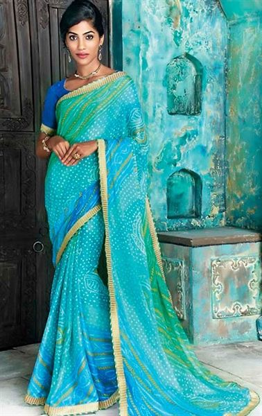 Picture of Artistic Sky Blue Bhandhani Saree