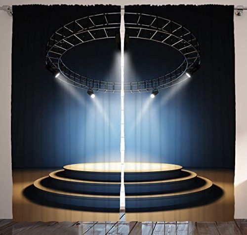 Modern Curtains Home Decor Concert Theatre Stage Disco Balls Black Drapes Curtains for Dining Room Bedroom Living Kids Teenage Room for Family Art Two Panels Set 108 X 90 Inches Long, Black Blue Brown