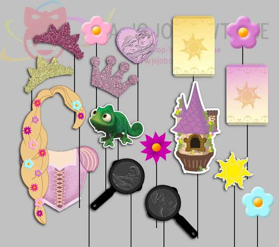 Rapunzel Tangled Party Photo Booth Props, Princess Rapunzel Party Photo Props
