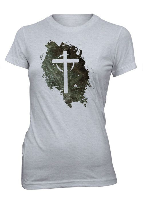 Jesus Vive Cruz Vacia Grunge Camiseta Cristiana Mujer