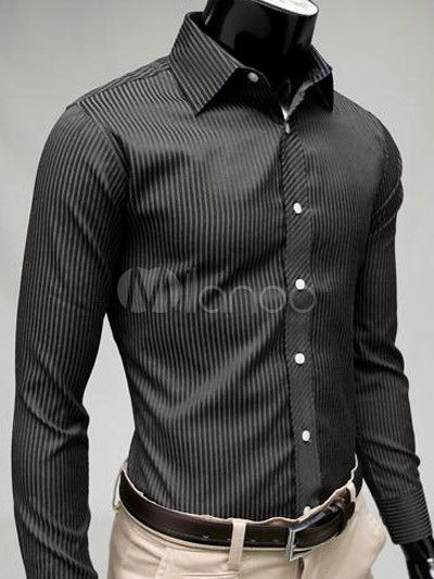Formal Black Stripe Cotton Blend Men's Shirt - Milanoo.com