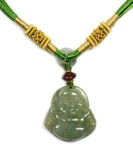 Elegant Life in Joy Happy Buddha Chinese Jadeite Jade Pendant Necklace, - Fortune Beauty Jade Collection