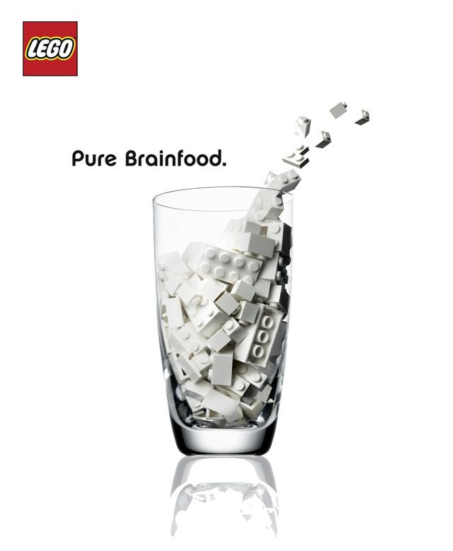 This Lego ad suggests that the toy is just as powerful as milk is for growth #Lego #ad #print #PrintAd #creative