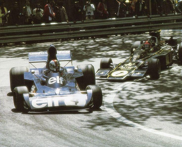 François Cevert (Tyrrell-Ford) 2ème & Emerson Fittipaldi (Lotus-Ford) vainqueur du Grand Prix d'Espagne - Montjuïc 1973 - source F1 History & Legends.
