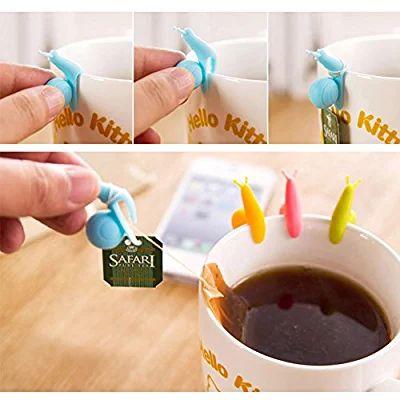 YSTD 10pcs Cute Snail Shape Silicone Tea Bag Holder Cup Mug Candy Colors Gift Set