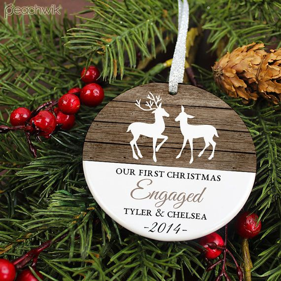 Our first christmas engaged ornament deer personalized for Engagement christmas tree ornaments