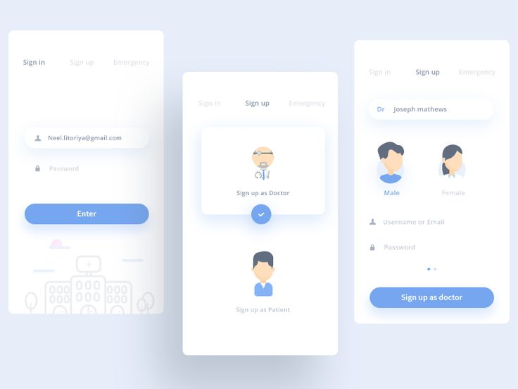 Sign In  Sign Up (Medical app Medicure) by Prakhar Neel Sharma #Design Popular #Dribbble #shots