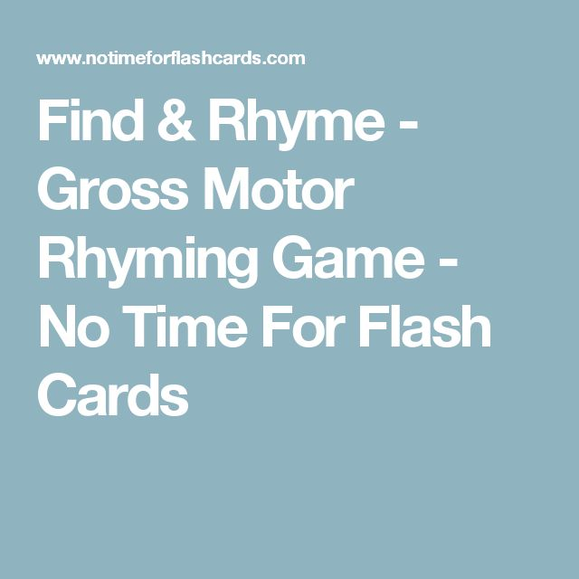 Find & Rhyme - Gross Motor Rhyming Game - No Time For Flash Cards