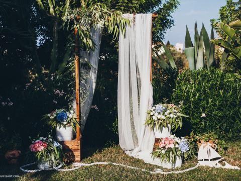wedding arch, private villa wedding