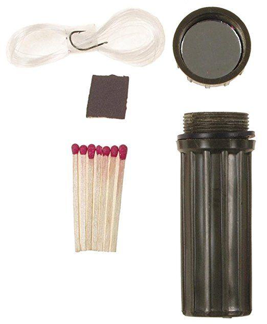 Fox Outdoor Wasserdichte Streichholz Box mit Spiegel und Angelhaken