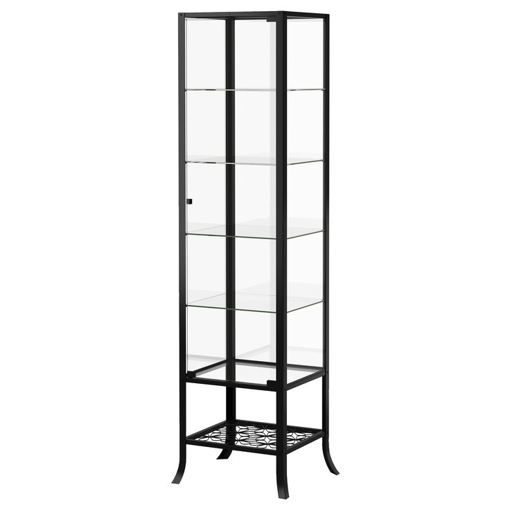 KLINGSBO Glass Door Cabinet Black Clear Display CabinetsGlass CabinetsIkea Dining RoomGlass