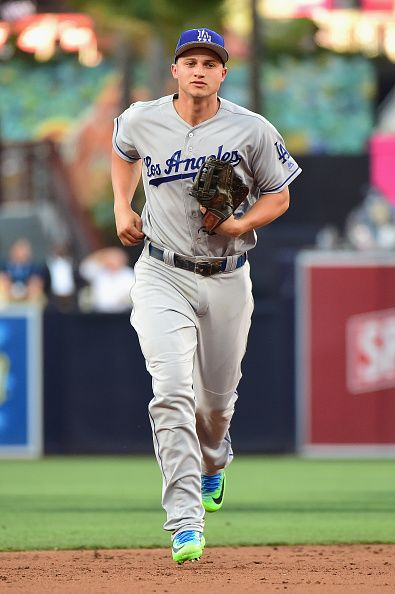 #Allstar2016 Corey Seager of the Los Angeles Dodgers jobs during the 87th Annual MLB AllStar Game at PETCO Park on July 12 2016 in San Diego California