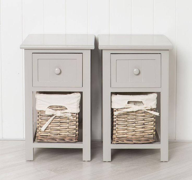 Pair Of Shabby Chic Grey Bedside Units Tables Drawers With Wicker Storage White Wicker Furniture Shabby Chic Grey Bedside Units