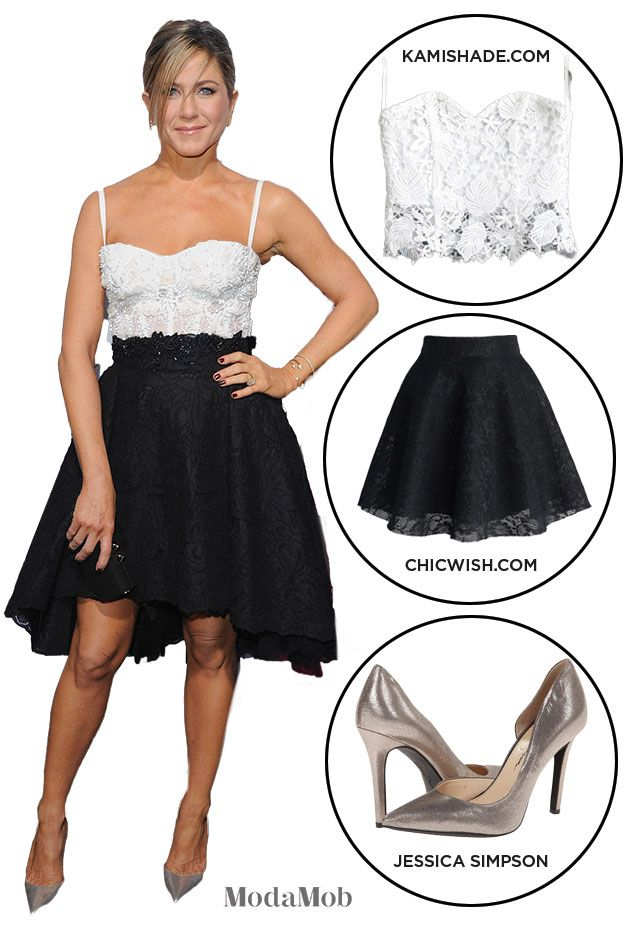 Jennifer Aniston inspired us to werk simple with this lacy black skater skirt and white bustier top combo #ZuhairMurad #Louboutins