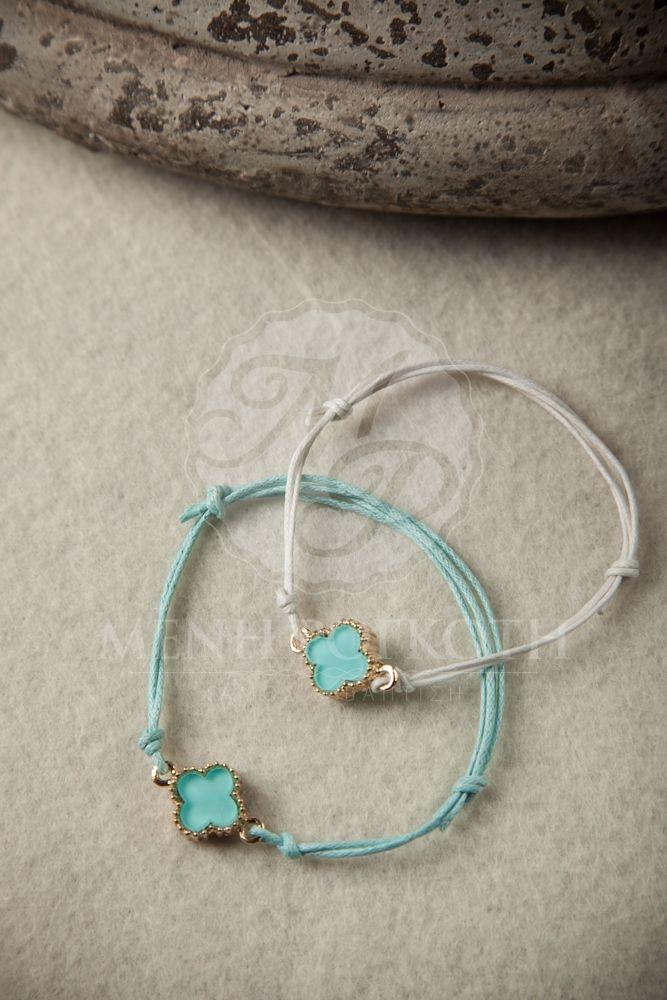 Witness bracelet - martyrika with waxed cord and lovely light blue cross