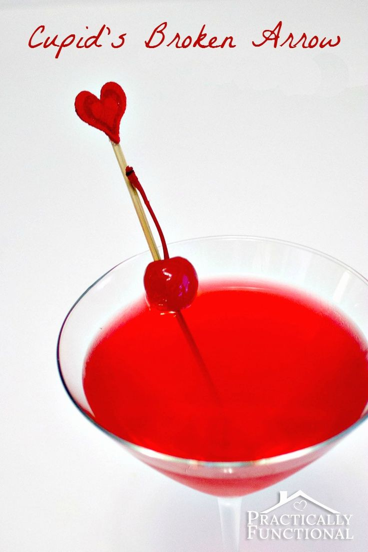 Valentine's Day Cocktails: Cupid's Broken Arrow - All you need is vodka, Triple Sec, cranberry juice, lime juice, and a cherry!