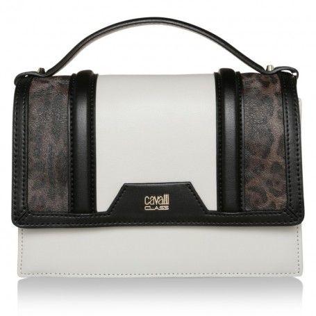 Class Cavalli Tasche – Claudia Crossbody Bag Signature Collection Black/Offwhite – in weiß – Umhängetasche für Damen