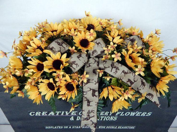 Double Cemetery Flower Memorial Headstone Saddle/Pillow Grave Decoration