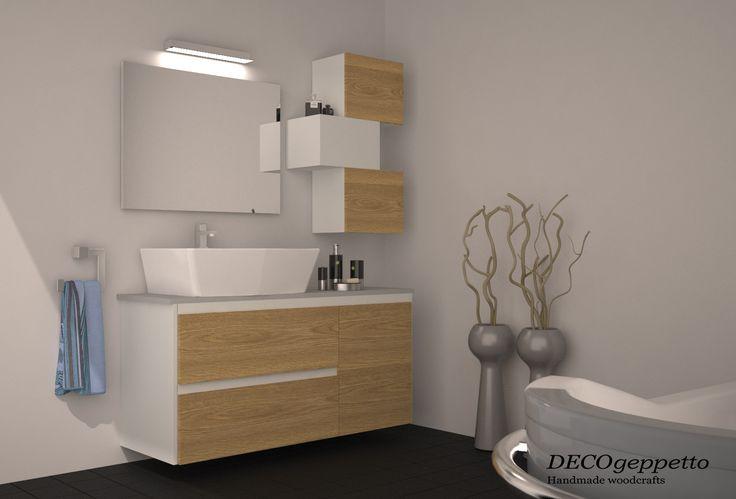 Σύνθεση επίπλων για μπάνιο , σε συνδυασμό  ανοιχτής δρυς και λευκής λάκας