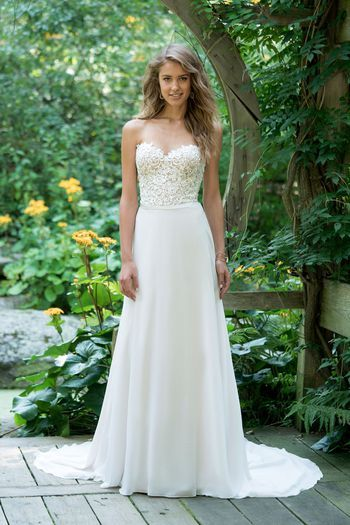 Lillian West Style 66019 Strapless Lace Bodice A Line With