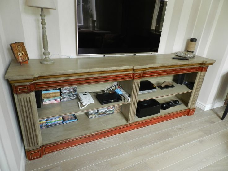 painted wooden tv commode