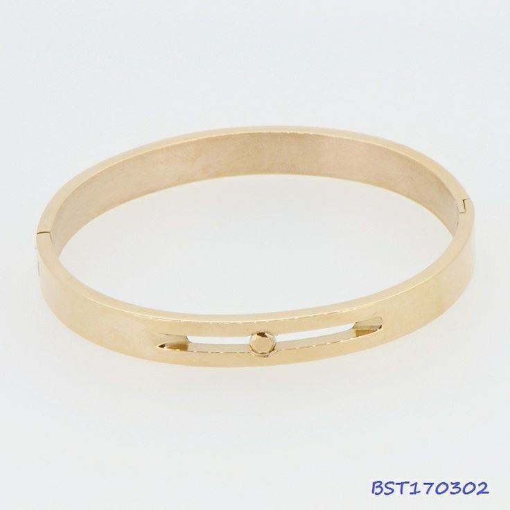 Fashion Stainless Steel CZ Bangle Rose Golden #BST170302