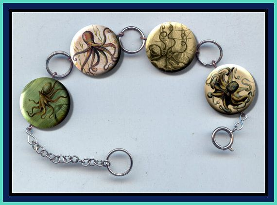 OCTOPUS vintage book images Charm Bracelet with by Yesware11
