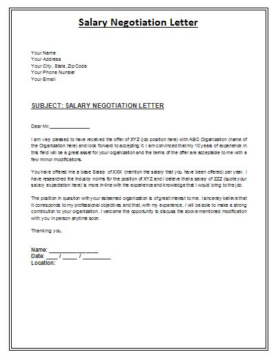 Salary negotiation letter is a formal archive composed by the employee in order to inform the employer about the negotiable amount of salary expected.