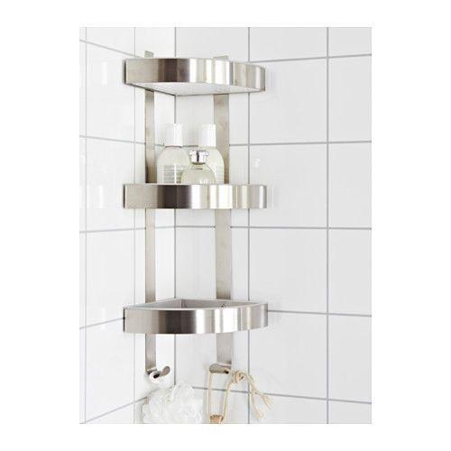 "Ikea 22"" Grundtal Corner Wall Shelf Unit,Stainless Steel Bath Storage"