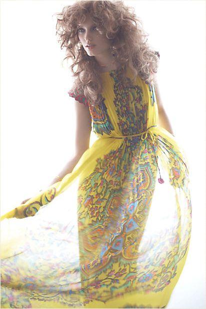 via Fresh GypsyLong Dresses, Summer Dresses, Style, Colors, Maxis Dresses, Yellow, Prints, Fashion Magazines, The Dresses